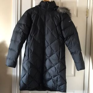 Columbia puffer down and feather black faux fur